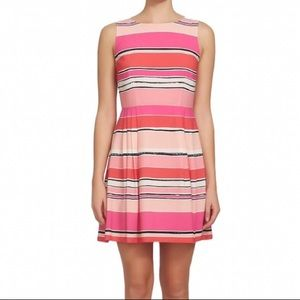 CeCe Pink Striped Fit and Flare Sleeveless Dress